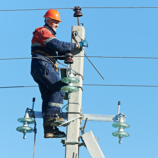 Line worker working on electric lines