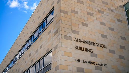 Exterior of Administration Building and Teaching Gallery sign